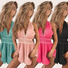 Womens Holiday Mini Playsuit Ladies Hollow Out Jumpsuit Summer Beach Dress B7C3