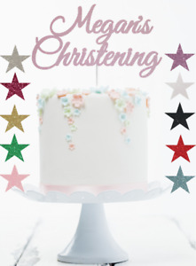 Christening Cake Topper Glitter Decorations, Full Personalised, Any Name