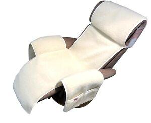 Sesselschoner Relaxsessel Merino gelockt mit Taschen 100% Wolle Naturweiß