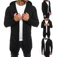 Sudadera con capucha de hombre de manga larga en negro