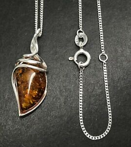 Cognac real amber pendant necklace, solid Sterling Silver. Abstract, swirl. New.