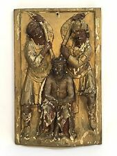 Antique Religious Hand Carved Painted Wood Jesus & 2 Soldiers Figures Sculpture