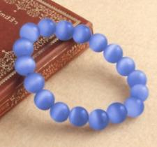 Round Gemstone Bracelet 7.5'' Aaa Fashion 10mm Blue Mexican Opal