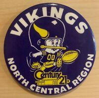 Minnesota Vikings Button Pin 3.5 Inch Near Mint Vintage Super Bowl Era