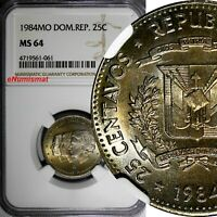 DOMINICAN REPUBLIC 1984 25 Centavos NGC MS64 Mirabal Sisters RAINBOW KM# 61.1