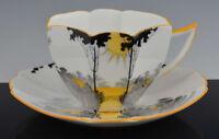 Vintage SHELLEY Art Deco Queen Ann Shape SUNRISE & TALL TREES CUP & SAUCER NR