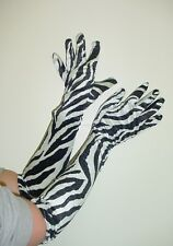 Black/ White Zebra Print Velvet Feel Long Length Gloves Fancy Dress/Prom (HW171)