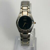 Seiko Womens 1N00-0LS0 Stainless Steel Black Round Dial Analog Wrist Watch