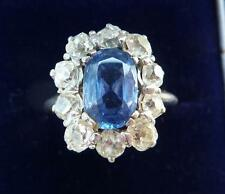 Stunning art deco 18ct white gold 2ct Sapphire and Diamond cluster ring
