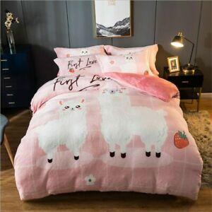 Luxury Bedding Set Flannel Cartoon Pink Duvet Cover Set Queen Size Flannel Bed