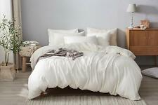 DAPU 55% French Linen 45% Cotton Soft Off White Duvet Cover With 2 Pillowcases