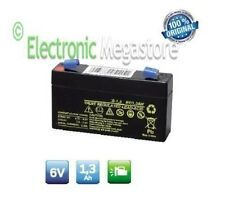 Batteria Ricaricabile al Piombo 6V 1,3Ah 1,2Ah connettore lampade antifurto