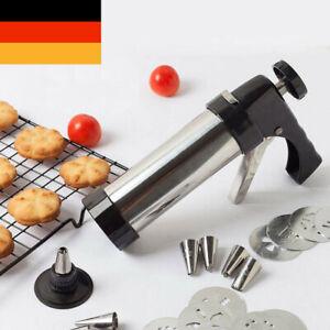 Edelstahl-Gebäckpresse & -Garnierspritze mit 8 Schablonen und 8 Tüllen