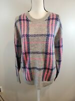NEW Cocobleu Size Large Women's Sweater Plaid Pullover Gray Pink Blue Top