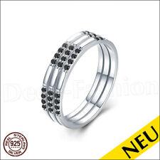 NEU 🌸 MEMORYRING 925 Sterling Silber RING Schwarzer SPINELL 7 / 54 🌸 Bandring