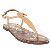 Sam Edelman Gigi Sandal Flat Nude Faux Patent Leather T-Strap Thong 9 Ankle Stra