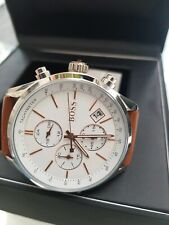 Hugo Boss Mens Grand Prix white brown leather 1513475 Watch new with warranty