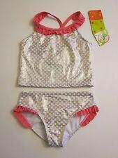 Penelope Mack Girl's 5 Pink White Gold Metallic 2 Pc Tankini Bikini Swimsuit