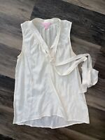 Lilly Pulitzer Women's 100% Silk Sleeveless Vneck Blouse Bow tie Size XS