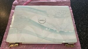 NEW DELL INSPIRON 1525 1526 LID COVER WHITE SWIRLS KY322 HINGE WIFI ANTENNA