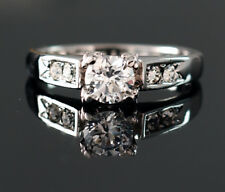 18k White Gold Plated Round Shape Classical Wedding Engagement Ring Size 9 R19
