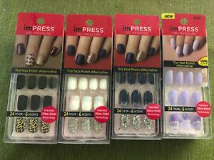 Lot Of 4 Kiss Impress Press On Nails White Black Navy Blue Purple