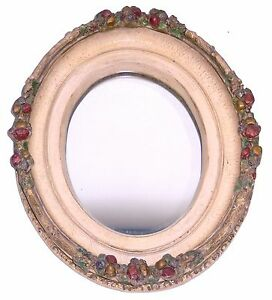 Mid Century Ornate Oval Mirror High Relief Fruit Picture Frame Hand Painted