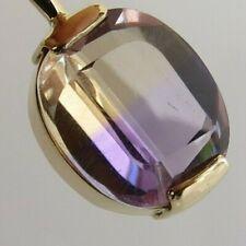 14k Gold purple amber ametrine 3 cwt gem pendant 1.9  grams