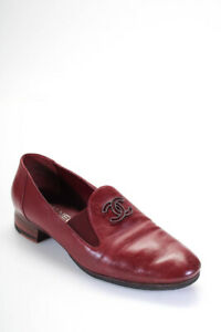 Chanel Womens Leather CC Logo Loafer Flat Shoes Dark Red Size 39.5