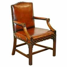 LOVELY FULLY RESTORED CIRCA 1900 AGED BROWN LEATHER GAINSBOROUGH CARVER ARMCHAIR
