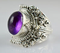 Amethyst Silver Ring 925 Solid Sterling Silver Handmade Classic Ring Jewelry