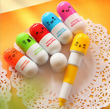 6X mini Cute Smiling Face Pill Ball Point Pen Telescopic Vitamin Capsule Ballpen
