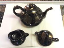 Sasha Brastoff Black Gold Surf Ballet 3 Pcs Tea Set