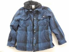 New Dickies Mens Hooded Button Yarn Dyed Plaid Lined Overshirt Jacket XS-4XL