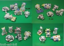 lot de chats rigolos, miniature, céramique,faits main,collection, vitrine,chat G
