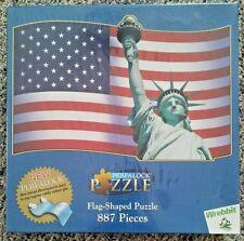 Puzzle U.S.A. Flag Shape & Statue of Liberty Perfalock 887 pieces Wrebbit NIB