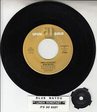 "LINDA RONSTADT Blue Bayou & It's So Easy 7"" 45 rpm record + juke box title strip"