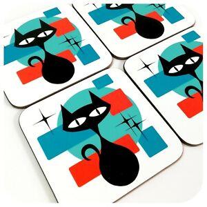 Retro Cat Coasters, Atomic Cat Drinks Coasters, Mid Century Black Cat Coasters