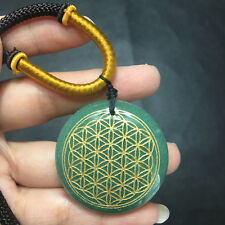 Natural aventurine Gemstone Crystal Flower of Life Pendant