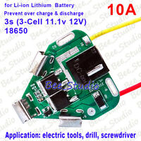 3S 10A Drill Battery 18650 Li-ion Lithium Battery BMS Protection PCB Board 12.6V