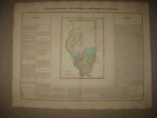 HUGE IMPORTANT ANTIQUE 1825 ILLINOIS CHICAGO CAREY & LEA BUCHON HANDCOLORED MAP