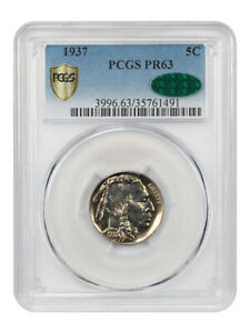 1937 5c PCGS/CAC PR 63 - Buffalo Nickel