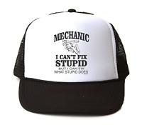 Trucker Hat Cap Foam Mesh Mechanic I Can't Fix Stupid Fix What Does