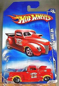 2009 Hot Wheels #164 Modified Rides 8/10 '40 FORD PICKUP Red Variant w/5 Spokes