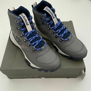TIMBERLAND GARRISON TRAIL WP MID HIKER MD GREY SUEDE W NAVY STYLE#0A287C SIZE 8