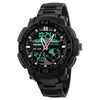 Digital Analog Stainless Steel Military CHRONO Date LED Mens Sport Wrist Watch