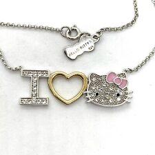"Enamel Sterling Silver CZ Hello Kitty Pendant Neacklace. 18""."