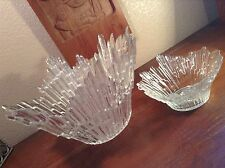 MID CENTURY GLASS BRUTALIST LARGE BOWLS FINLAND 2PC