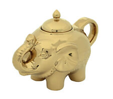 BIA Elephant Sugar Pot Bowl Storage Container With Lid Gold Colour Porcelain