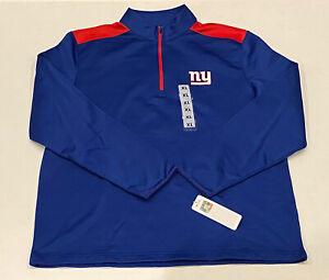 NFL Brand New York Giants 1/4 Zip Pullover Fleece Sweater Mens XL Big Blue NFC
